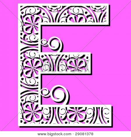openwork alphabet, letter E