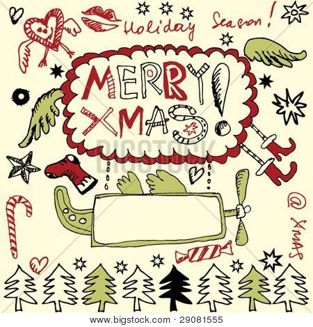 scribble christmas, funny doodles, hand drawn design elements