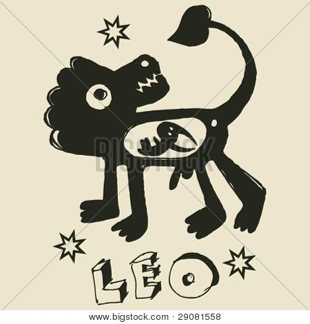 archaistic horoscope, hand drawn sign of the zodiac leo