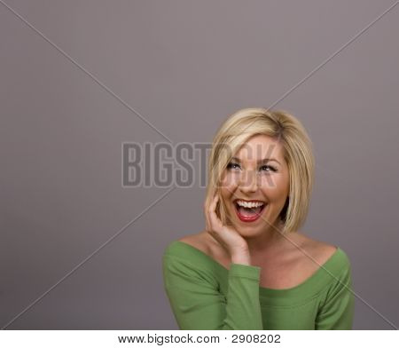 Blonde Laughing Looking Up