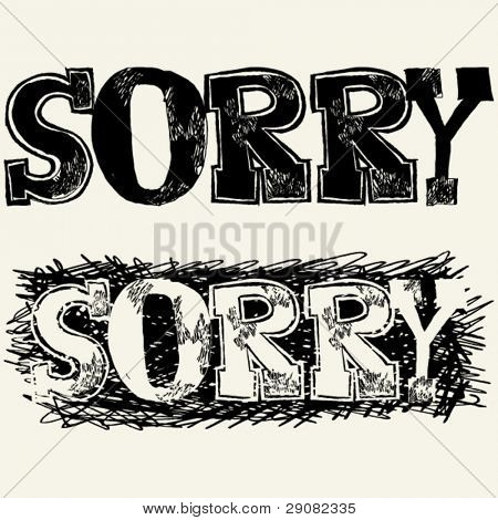 sorry hand drawn lettering