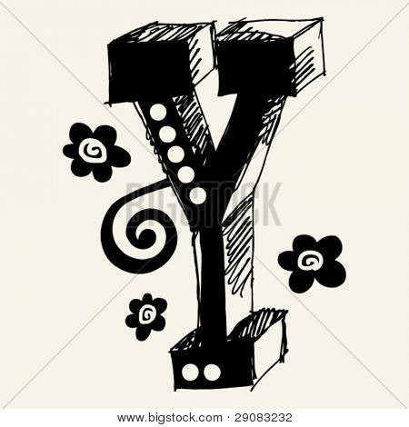 funny vector contre-jour ABC, hand drawn letter Y