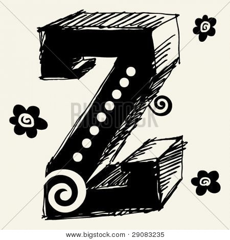 funny vector contre-jour ABC, hand drawn letter Z