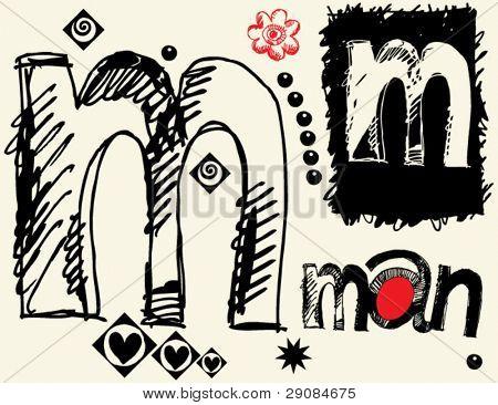 childish hand drawn alphabet, crazy doodle M