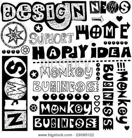 hand drawn lettering design elements