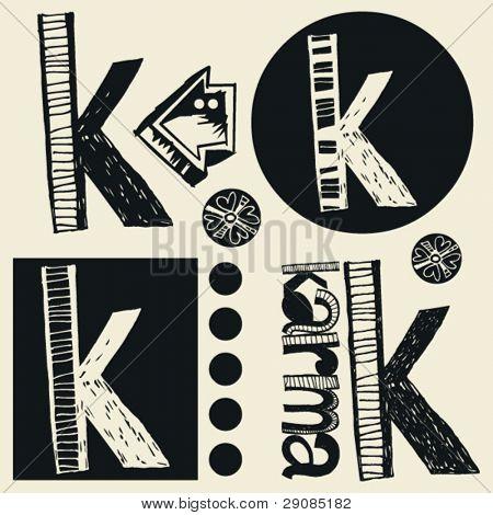 scribble alphabet, crazy doodle K