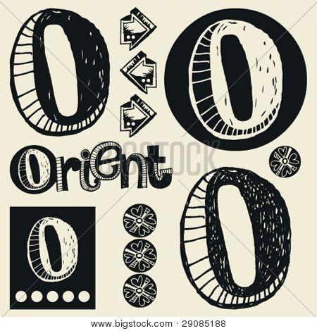 scribble alphabet, crazy doodle O