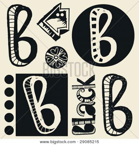 scribble alphabet, crazy doodle B