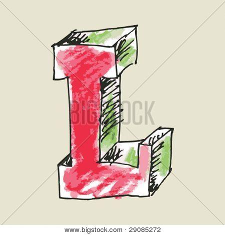 crayon alphabet, hand drawn letter L