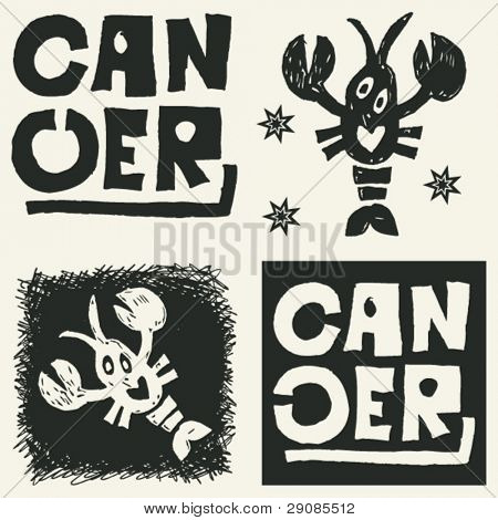 naive abstract horoscope, hand drawn sign of the zodiac cancer
