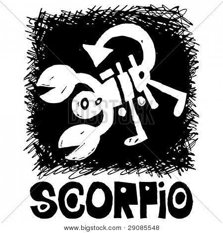hand drawn sign of the zodiac scorpio isolated on white background