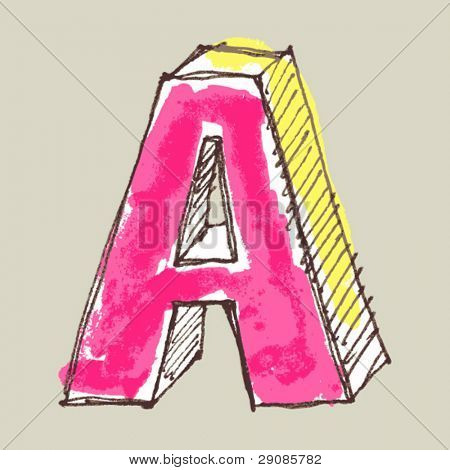 childlike gouache alphabet, hand drawn letter A