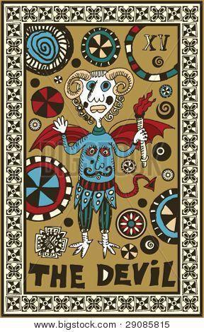 hand drawn tarot deck, major arcana, the devil