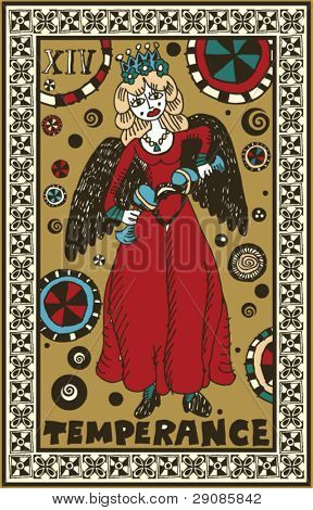 hand drawn tarot deck, major arcana, temperance