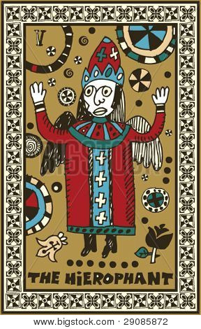 hand drawn tarot deck, major arcana, the hierophant