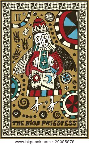 hand drawn tarot deck, major arcana, the high priestess