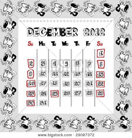 doodle calendar for year 2012, December