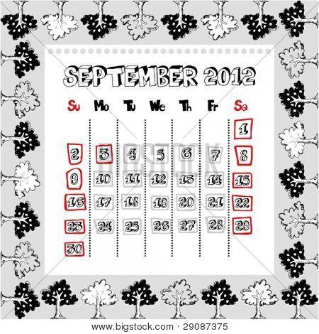 doodle calendar for year 2012, September