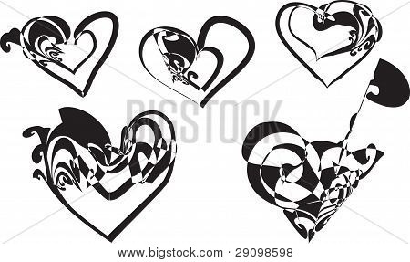 A Five Abstract Hearts