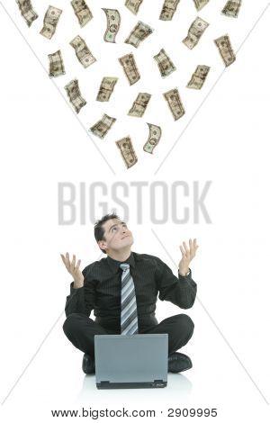 Money Raining Down On A Businessman