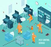 People From Pest Control Service Doing Disinfection In Office 3d Isometric Vector Illustration poster