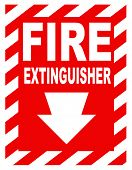 stock photo of inference  - A fire extinguisher location sign for use in any safety inference - JPG