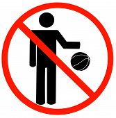 Stick Man Playing Basketball W Not Allowed poster
