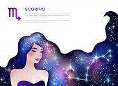 Scorpio Zodiac Sign Web Banner Layout. Astrological Calendar Symbol As Female Character. Space And S poster