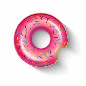 Inflatable Circle In Shape Of Pink Doughnut With Shadow Isolated On White.  Realistic Summertime Ill poster