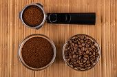 Holder From Coffee Maker With Ground Coffee, Bowl With Fried Coffee Beans, Bowl With Ground Coffee O poster