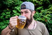 Im Only Here For Drinking Beer. Bearded Man Drinking Alcohol On Nature. Brutal Man Having Drinking H poster