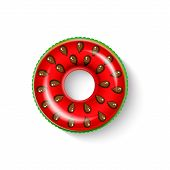 Inflatable Circle In Shape Of A Piece Of Watermelon With Shadow Isolated On White.  Realistic Summer poster