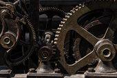 Clockwork Large Vintage Clock. Gear Mechanism Of The Clock Tower Clock. poster