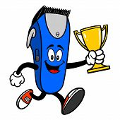 Electrical Hair Clipper Mascot Running With A Trophy - A Vector Cartoon Illustration Of A Barber Sho poster