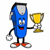 Electrical Hair Clipper Mascot With A Trophy - A Vector Cartoon Illustration Of A Barber Shop Electr poster