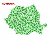 Vector Cannabis Romania Map Collage. Concept With Green Weed Leaves For Cannabis Legalize Campaign.  poster