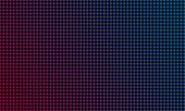 Led Video Wall Screen Texture Background. Vector Blue And Red Purple Color Light Led Diode Dot Grid  poster
