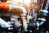 Internal Combustion Engine Automotive, Engine Fragment Close-up. poster
