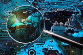 Blue Circuit Board, World Map And Magnifier Glass. Investigation For Global Cybersecurity. Elements  poster