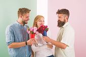Girl Popular Receive Lot Men Attention. Men Competitors With Bouquets Flowers Try Conquer Girl. Love poster