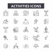 Activities Line Icons. Editable Stroke Signs. Concept Icons: Active People, Woman Lifestyle, Man Lei poster