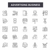Advertising Business Line Icons. Editable Stroke Signs. Concept Icons: Marketing, Digital Promotion, poster