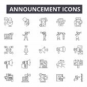 Announcement Line Icons For Web And Mobile Design. Editable Stroke Signs. Announcement  Outline Conc poster