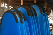 Stack Of Blue Color Soft Surfboards In A Stack By Ocean.bali.indonesia. Surf Boards On Sandy Beach F poster