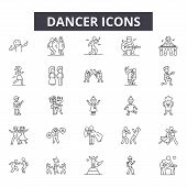 Dancer Line Icons For Web And Mobile Design. Editable Stroke Signs. Dancer  Outline Concept Illustra poster