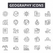 Geography Line Icons For Web And Mobile Design. Editable Stroke Signs. Geography  Outline Concept Il poster