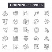 Training Services Line Icons For Web And Mobile Design. Editable Stroke Signs. Training Services  Ou poster