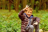 I Feel Ok. Little Boy Show Ok Sign. Happy Little Boy. Small Boy Enjoy Day In Woods. Just Relax, Ever poster