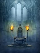 Fantasy Medieval Scene With A Throne And Tourches. Photomanipulation. 3d Rendering. poster
