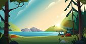 Rural Cartoon Landscape. Beautiful View Of The Lake And The Mountains On Forest Background. Nature L poster